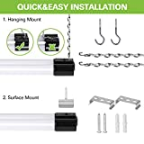 Linkable LED Shop Light for Garage, 4FT 36W Utility Light Fixture for Workshop Basement, 5000K Daylight LED Workbench Light with Plug[250W Equivalent] Hanging or Surface Mount, Black-4 Pack
