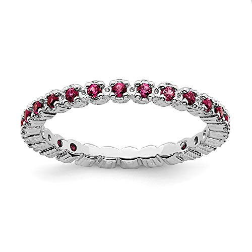 (925 Sterling Silver Created Red Ruby Band Ring Size 6.00 Stone Stackable Gemstone Birthstone July Fine Jewelry Gifts For Women For Her)