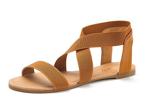 (DREAM PAIRS Women's Elatica-6 Tan Elastic Ankle Strap Flat Sandals - 10 M)