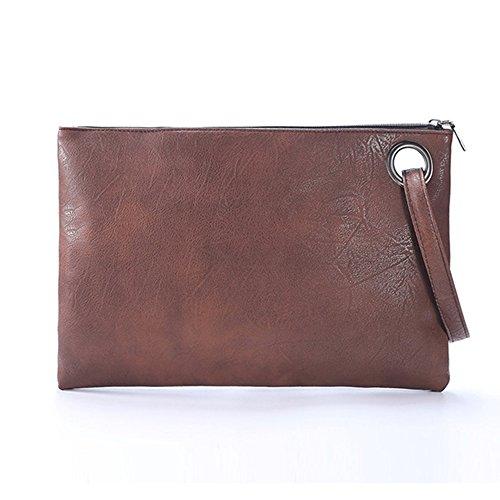 Mujeres Cuero de la PU Bolso de mano Embrague Bolso de noche Retro Bolso Sobre el paquete Tote Bag De gran tamaño Pulsera Bolso de mano Brown