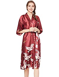 0604a64572 Women s Kimono Robes Red-Crowned Crane Bathrobe Soft Sleepwear V-Neck Ladies  Long Nightwear
