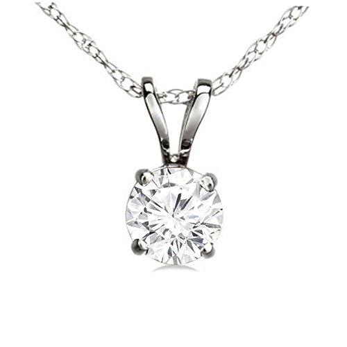 Dazzlingrock Collection 0.25 Carat (ctw) 14K Round White Diamond Ladies Solitaire Pendant 1/4 CT, White Gold
