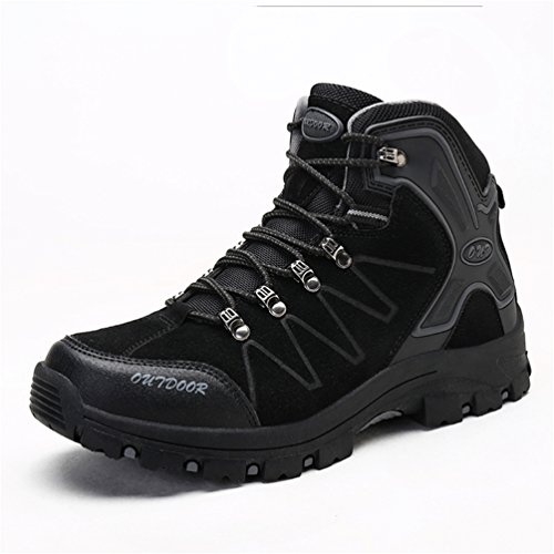 Men's Womens Hiking Shoes Waterproof Boot Lightweight Outdoor Sneaker for Walking Trekking-Black-44 EU by Sherry Love