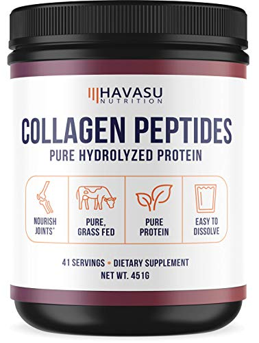 Collagen Peptide Powder with Amino Acids - Aiding in Healthy Joints, Skin, and Total Body - Pasture Raised, Grass Fed, Paleo Friendly, Non-GMO & Gluten-Free - Pure Hydrolyzed + Unflavored