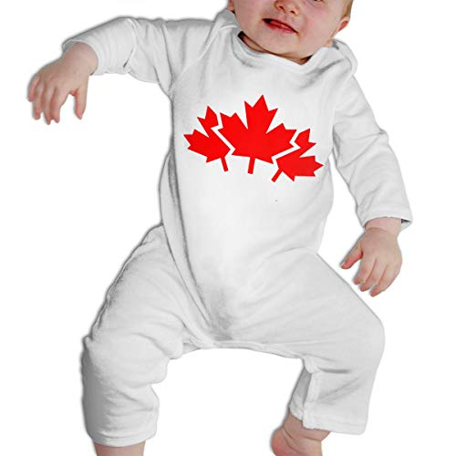 Girl's Boy's Canada Maple Leaf Long Sleeve Romper Baby Clothes Outfits -