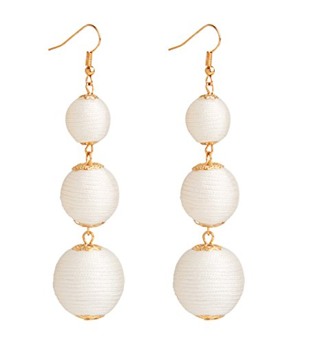 Pearl Thread Earrings - VK Accessories Thread Ball Dangle Earrings Thread Dangle Earrings Soriee Drop Earrings Beaded Ball Ear Drop White