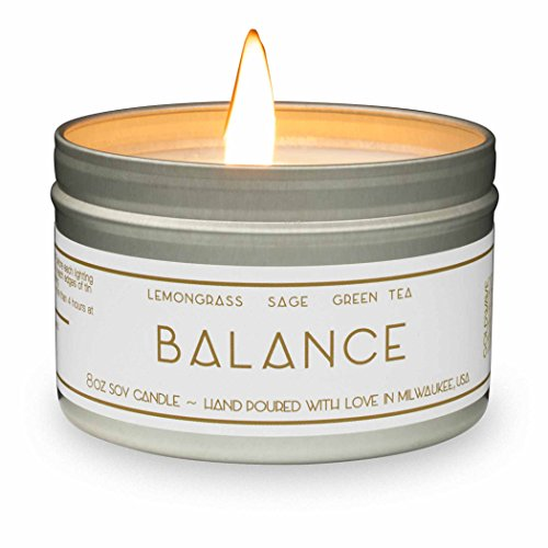 Gold Wave Goods Scented Candle - Balance (Lemongrass/Sage) - Natural Soy Wax Aromatherapy 8 oz Candle, 1-Pack, Made in USA