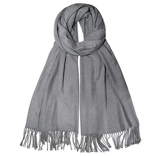 SOJOS Womens Large Soft Cashmere Feel Pashmina Shawls Wraps Winter Scarf SC3004 with Light Grey
