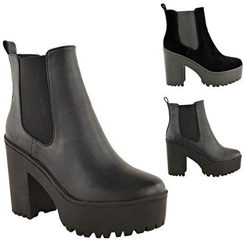 MUJER GRUESA CON TACOS PLATAFORMA TACÓN EN BLOQUE BOTINES NÚMEROS 36-41 - Piel Sintética Negro, 6 UK/39 EU/8 US: Amazon.es: Zapatos y complementos
