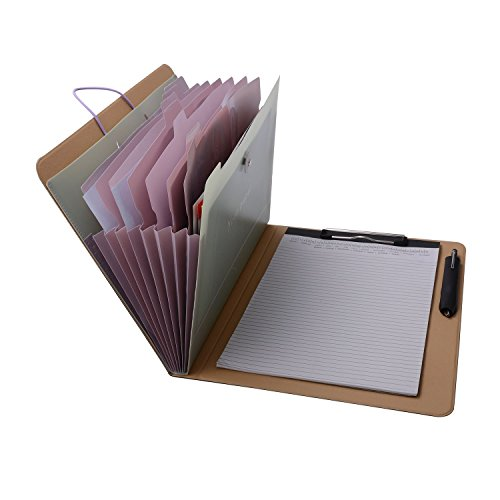 Leather Expandable Organizer - Notepad Portfolio with Expanding Files Folder, A4 Expandable File Organizer Business File Organizer Portfolio Case