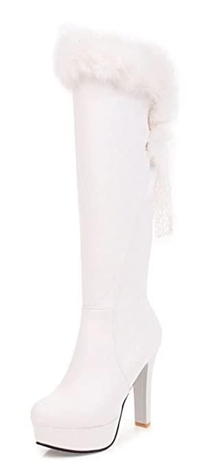 Aisun Femme Sexy Tige Haute Bout Rond Cuissardes Bottes Blanc 43 eJmRGPYye