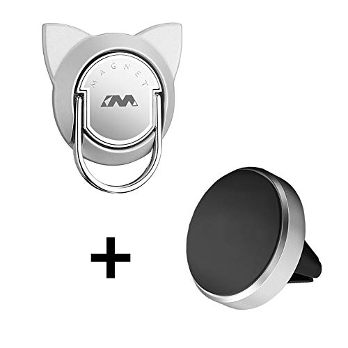 Cat Magnetic Phone Ring Holder Car Mount, Magnet Finger Ring Stand with Car Air Vent Mount, Car Mount Ring Grip for Cell Phone and Tablet (1 Set,Silver) ()