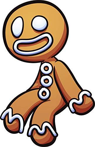 Cute Silly Holiday Gingerbread Man Cartoon Emoji Vinyl Sticker, -