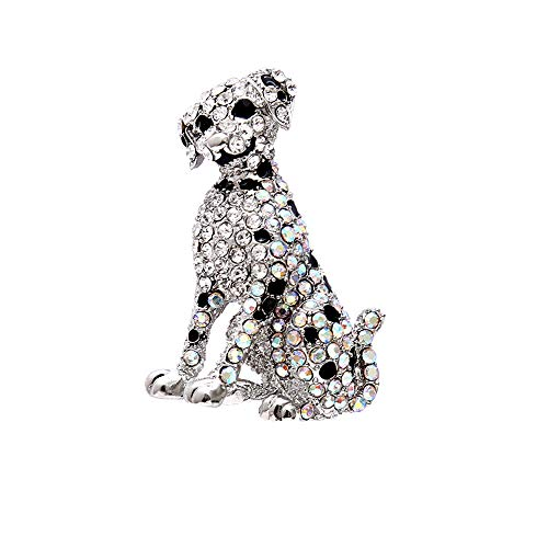 Alonea Dog Brooch Pin, New Enamel Alloy Colorful Pins Dog Brooches for Women Girls Party (White❤️)