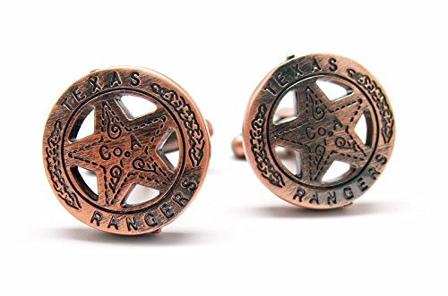 Men's Executive Cufflinks Distressed Copper Tone Texas Ranger Lone Star Badge Cuff (Texas Rangers Cufflinks)