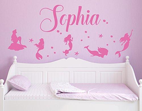 (Custom Mermaid Wall Decal Sticker Set, Sea Mermaid, Girls Kids Room Décor, Nursery Wall Decal, Mermaid Wall Decal (Size Mermaid 10