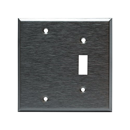 (ENERLITES Combination Blank Device/Toggle Light Switch Metal Wall Plate, Corrosive Resistant, Size 2-Gang 4.50