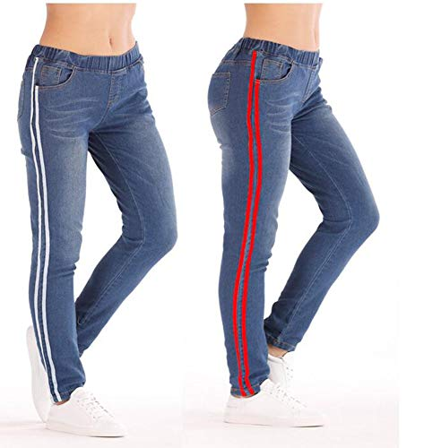 De Ht Para Huateng Pantalones Con Mujer Cordones Blanca Cinta XRHqxp
