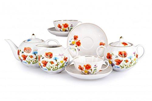 (Dulevo Porcelain Tea Set 15-pc. Flower Meadow. Tea Set for 6 Persons)