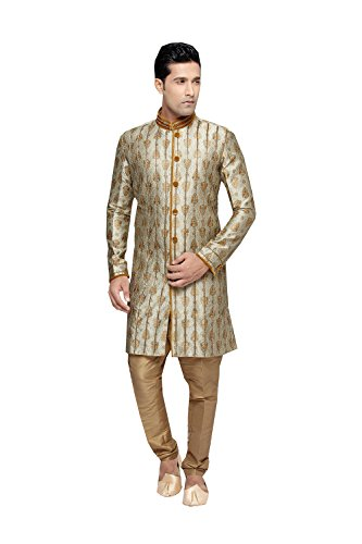 Jaipur Collections Indian Kurta Pajama Set For Men Wedding Festival Partywear In Light Gold Brocade Art Silk by Jaipur Collections