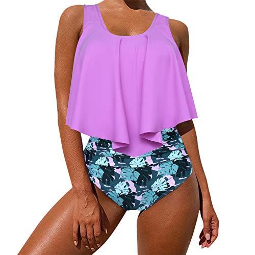MOOSLOVER Women's Cute Ruffle Bikini Top High Waisted Print Two Piece Swimsuit(XXL,Purple)