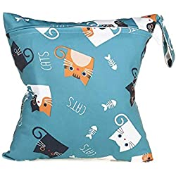 Termichy Wet Bag Bolsa Impermeables de Pañales Para Bebés,Reutilizable Bolsa de Pañales, Ropa Sucia Para Gimnasio, Trajes de Baño Mojados,Pañales para Bebés (Lindo gato)