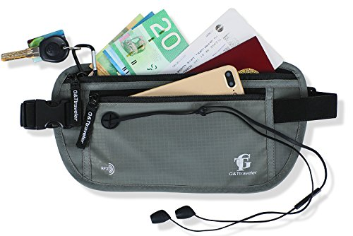 RFID Blocking Undercover Anti-Theft Hidden Waist Stash Passport Holder Travel Money Belt