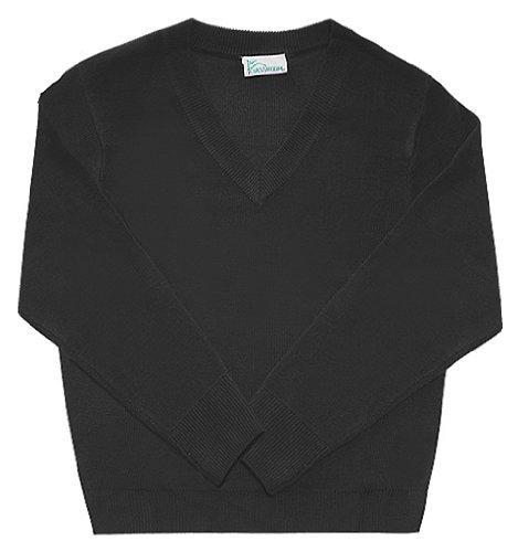 Classroom School Uniforms Men's Adult Unisex Long Sleeve V-Neck Sweater, Black Large -