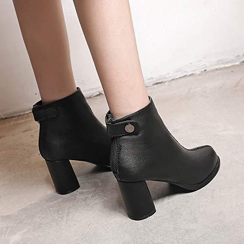 de Invierno Dedo Botas Cuero Mujer Altas Botas del Color del pie s Rawdah del Cq6XUwn