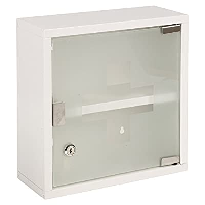 Fastcar Wall Mounted Lockable Stainless Steel Medicine Cabinet with 2 Shelves & Frosted Glass Door (Approx. 30 X 12.5 X 30Cm) - Wall Mountable Medicine Cabinet Frosted Glass Door With First Aid Cross Detail Screws & Raw Plugs Included For Wall Mounting - shelves-cabinets, bathroom-fixtures-hardware, bathroom - 41NC819AKYL. SS400  -