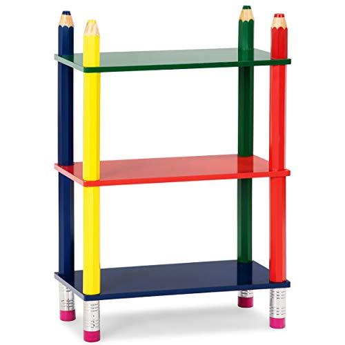 Costzon 3 Tiers Kids Book Shelf Open Shelf Bookcase for Children Stand Shelf Cartoon Fun Playroom (Pencil Design) by Costzon