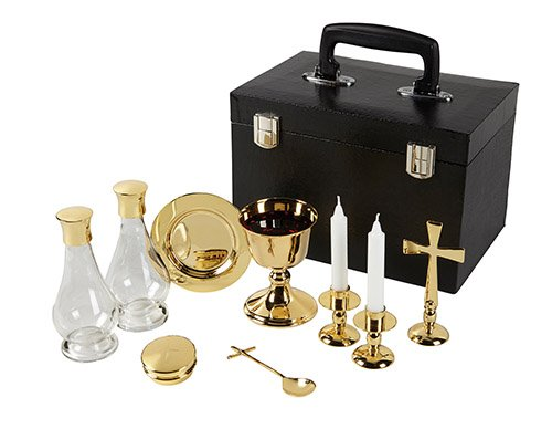 Mass Kit with Case Polished Brass Includes chalice paten 2 glass cruets cross spoon 2 candle holders pyx by US Gifts