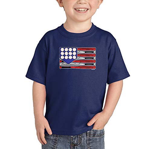 HAASE UNLIMITED Baseball American Flag - Merica USA Infant/Toddler Cotton Jersey T-Shirt (Navy, 4T)