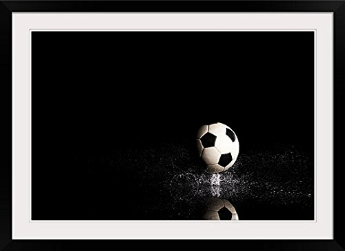 GreatBIGCanvas ''Soccer Ball on black Reflective Surface '' Photographic Print with black Frame, 36'' X 24'''' by greatBIGcanvas