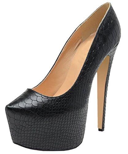 HooH Damen Stiletto Plattform High Heel Kleid Pumps Hochzeit Schuhe Slip On Schwarz