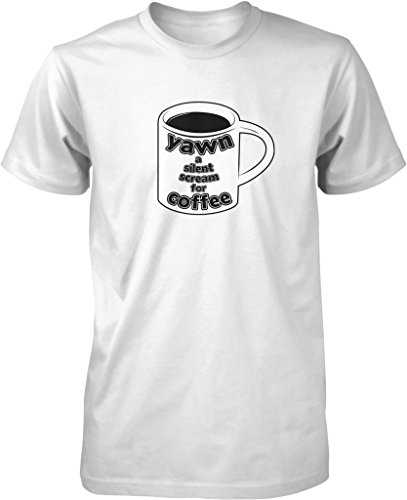 Yawn a Silent Scream for Coffee, Caffeine, Expresso, Love Coffee Men's T-shirt, NOFO Clothing Co. XXXL White (Senseo White Coffee Maker compare prices)