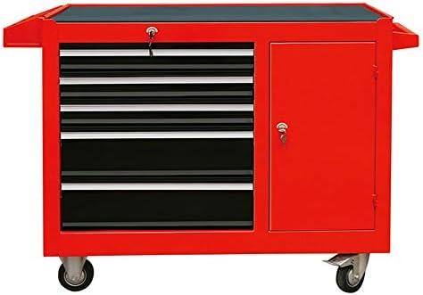 ローラーキャビネット 修理トロリーボックスから開くロック引き出しブリキ自動車修理ツールカートツールキャビネットカート ツールトロリー (色 : Red, Size : 96x46x81cm)