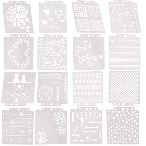 Orgrimmar 16pcs Mix Pattern Square Shape Hollow Out Painting Stencils Journal/Notebook/Diary/Scrapbook DIY Drawing Template Stencil