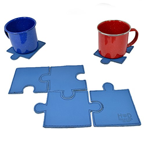 Braided Retrievers (Puzzle Leather Drink Coasters Cup Mats (Set of 6 pieces) Handmade by Hide & Drink :: Blue)