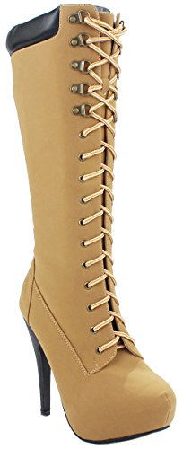 Forever Lace Up Top Knee High Military Combat High Heel Platform Tall Boots Camel