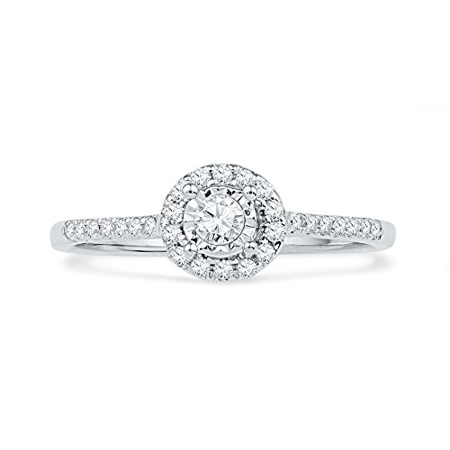 10KT White Gold Round Diamond Promise Ring (1/4 cttw)
