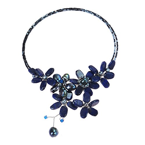 Reconstructed Lapis-Lazuli and Cultured Freshwater Black Pearls Floral Choker (Lapis Lazuli Flower)
