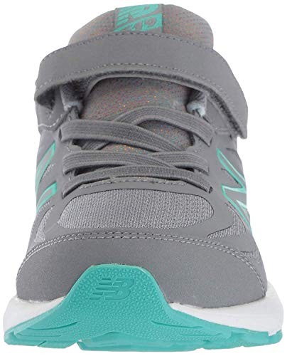 New Balance Girls' 519v1 Hook and Loop Running Shoe, Gunmetal/Aquarius, 2 M US Infant by New Balance (Image #2)