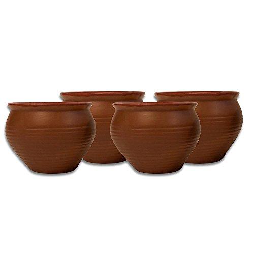 Mc Sid Razz Earthen Glazed Terracotta Chai(Tea) Handcrafted Studio Pottery Brown Mini Kulhad [ Kullad/Kullar/Cups ] [ Set Of 4 ] (Brown, Set of 4) ()