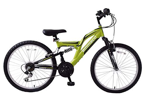 Ammaco Hill Attack 24' Wheel Dual Full Suspension Boys 18 Speed Mountain Bike Green Age 8 +