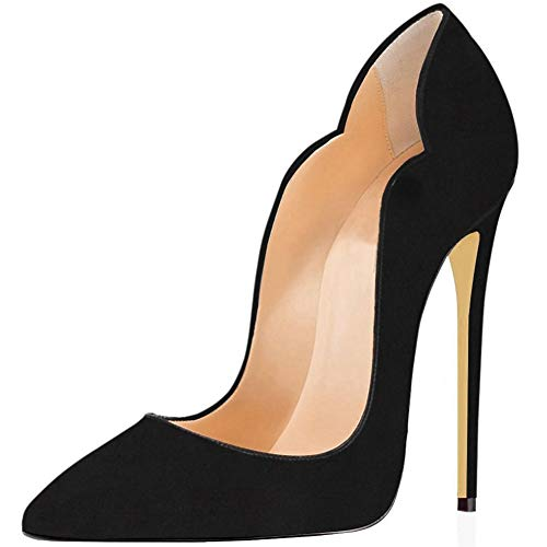 Comfity Stiletto Pumps Heel Pointed Shoes for Women Sexy All Suede Leather Pump High-Heeled Basic Shoe 12CM Thick Elegant Wedding Party Queen Heels Black 10