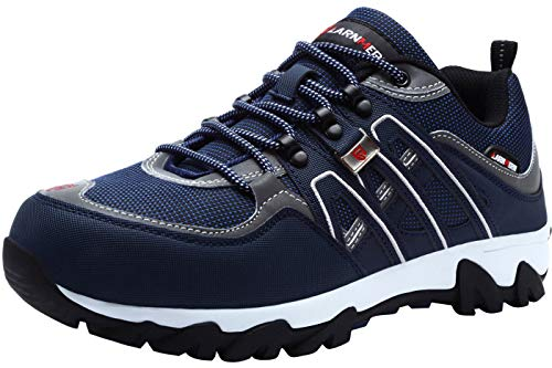 LARNMERN Men's Work Steel Toe Safety Shoes for Industrial Construction Utility Outdoors, LM-1032 (9, Blue/White)