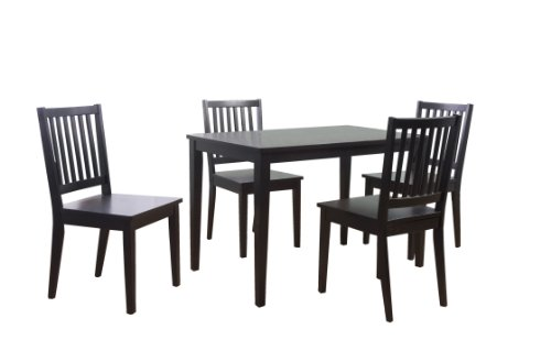 Target Marketing Systems 5 Piece Shaker Dining Set with 4 Slat Back Chairs and 1 Dining Table, Black (Slat 5 Back Piece)