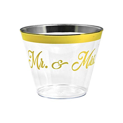 Gold Rimmed Disposable Plastic Cups - Elegant Mr&Mrs! Inscription - Tumblers for Weddings, Holidays, Birthdays & Special Occasions - 100 Crystal Clear Old Fashioned Glasses, Great for Wine & Cocktails