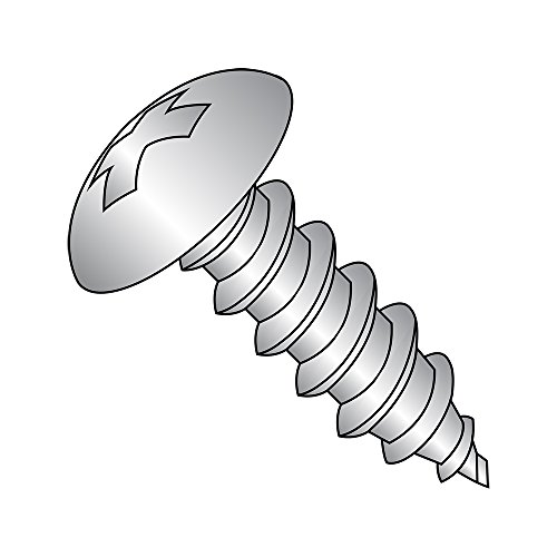 18-8 Stainless Steel Sheet Metal Screw, Plain Finish, Truss Head, Phillips Drive, Type A, #6-18 Thread Size, 5/8'' Length (Pack of 100) by Small Parts
